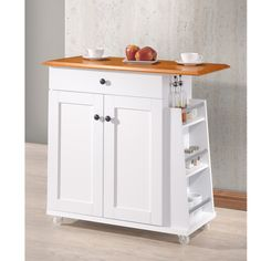 Constructed of a rubberwood top and MDF in a white finish, this kitchen cart features one utility drawer, 2-door storage cabinet with an adjustable shelf, and towel rack and spice rack.