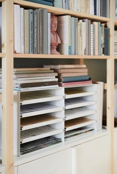 You can easily access your papers as the compartments can be pulled out. Cork liner in the bottom keeps your papers in place. Style Blanc, Cable Management Box, Office Bookshelves, Cute Office Decor, Office Ideas, Small Space Office, Small Spaces, Recycling Facility, Letter Tray