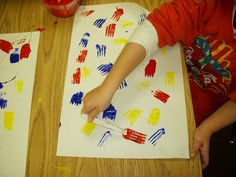 ARTASTIC! Miss Oetken's Artists Jasper Johns/primary colors/paint with forks
