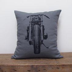 Motorcycle Linen Pillow black, pillows & throws, decorative pillows