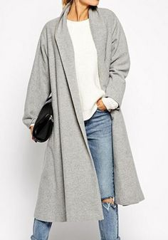 Grey Plain Pockets Long Sleeve Casual Cotton Outerwear