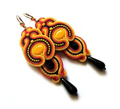 Multicolor big soutache earrings statement colorful by SaboDesign - super long!! Great for summer :)