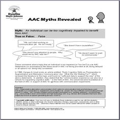 Myths - Too Cognitively Impaired to Benefit from AAC | DynaVox