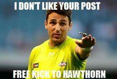 Free Kick Hawthorn Free Kick, Football Memes, Sports Humor, My Children, Kicks, Baseball Cards, Funny, Humor, Hilarious