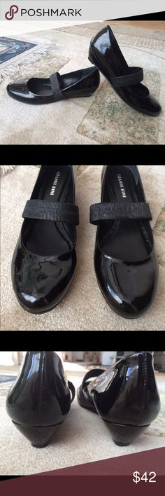 """Gianni Bini Black Patent Leather Flats Size 8 The cutest shoes you'll ever own!!! All occasion, so comfortable and stylish!!! Genuine leather. Stretchy elastic """"Mary Jane"""" band and slight platform places these a cut above your basic boring black shoe. Excellent condition, worn only a couple of times indoors. Gianni Bini Shoes Flats & Loafers"""