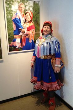 This is my friend from Kautokeino in front of her wedding photo, which is part of the exhibition.