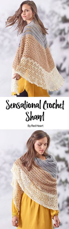 Sensational Crochet Shawl free crochet pattern in Fashion Soft yarn. This lighter-weight yarn will take you from season to season while adding the perfect layer of laciness and warmth. As you change to each new color, you'll stay interested as the stitch pattern also changes.
