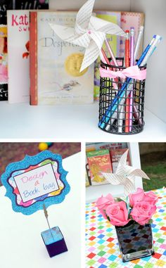 Design a book bag. Lay out canvas or recycled bags and let the kids decorate with fabric or regular markers/stickers.