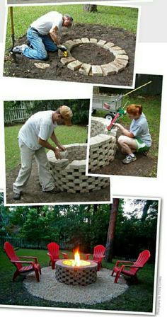 Amazing DIY Backyard Fire Pits Design Ideas The fire shouldn't be raging above the blocks at the very top of the pit. A fire pit doesn't need to seem perfect or to… The post Amazing DIY Backyard Fire Pits Design Ideas appeared first on Engineering Basic. Diy Fire Pit, Fire Pit Backyard, Backyard Patio, Backyard Seating, Backyard Ponds, Fire Pit Yard, Fire Pit Bbq, Backyard Furniture, Backyard Projects