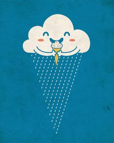 ice cream simple clever cartoon illustration great in a school art room or childs bedroom it would make them think outside the box,the lateral subjective nature of objects and nature,a cloud of rain looked at the right way is an icecream,must think of more of these,like seeing pictures in a cloudy sky