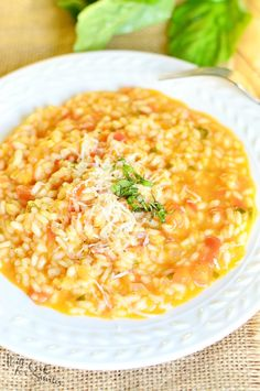 Creamy Tomato Basil Risotto | from willcookforsmiles.com #rice #dinneridea