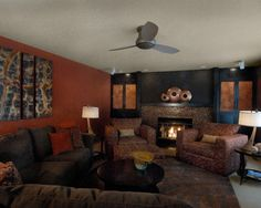 Living room orange wall decor and pictures on pinterest for Black and burnt orange living room