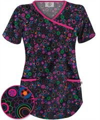 Happy Scrubs® Lovely Ladies Black Mock Wrap Top teva these are cool