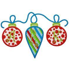 By Category :: Holidays & Special Occasions :: Christmas :: Ornament Trio Applique