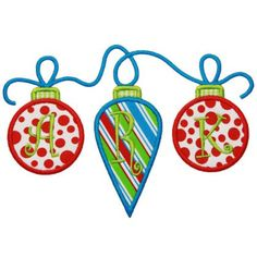 By Category :: Holidays & Special Occasions :: Christmas :: Ornament Trio Applique