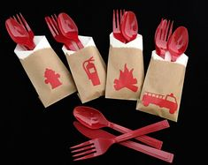 Fireman Cutlery Bags - Firetruck Birthday - Firefighter - Fireman Party - fireman birthday - Hydrant - party decorations - firefighter baby