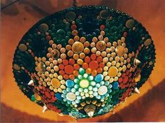 Stunning #stained #glass lamp with coloured #glass #nuggets http://www.1-2-do.com