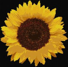 "Sunflower - cross stitch - I can't imagine doing cross stitch on black aida but this would be a beautiful addition to my house.  (design size 10"" x 10"")"