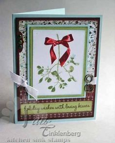 3 step holly and mistletoe from kitchen sink stamps