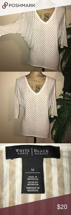 🆕 Listing! WHBM Batwing Top Awesome striped, double v-neck top White House Black Market Tops Blouses