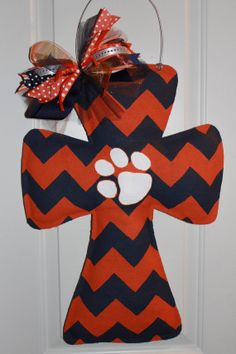 Navy and Orange Chevron Tiger Paw Burlap Cross Door Hanger