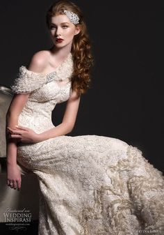 Martina Liana wedding dresses 2011 collection - Alencon Lace Gown with Parisian Silk Chiffon Accents, Ginger- Parisian Silk Chiffon with Tulle Cape