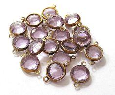 Vintage Brass Lavender Crystal  Connector Links by vintagebeadery, $3.00