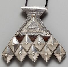 Africa | Pendant from the Tuareg people of Niger | Silver, leather and fiber | 562$ ~ sold (Nov '12)