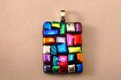 Dichroic Fused Glass Pendant, Multi-Colored, $15.00, via Etsy. Dichroic Glass Jewelry, Geode Jewelry, Glass Necklace, Glass Pendants, Glass Beads, Mosaic Glass, Glass Art, Domino Art, Ceramic Pendant