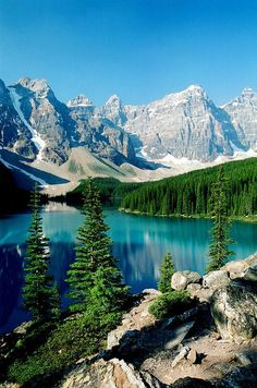 January- Beauty.✯ Moraine Lake - Canada. The Canadian Rockies have some of the most beautiful places in the world. Moraine Lake,nestled in the Valley of the Ten Peaks, is one of them.