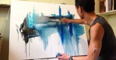 Liked on Pinterest: Five Easy Steps to create amazing landscape abstract art painting - YouTube