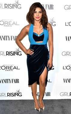 How to makerisquélookregal: a lesson, courtesy of Ms. Priyanka Chopra. The actress wowed in this blue Three Floor cutout dressatthe Vanity Fair and L'Oreal Paris Girl Rising benefit in 2015.