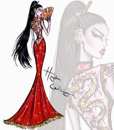 Hayden Williams Fashion Illustrations: Red Carpet Glam: 'Unleashed Dragon' by Hayden Williams