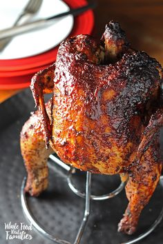 BBQ Beer Can Chicken BBQ Beer Can Chicken for an awesome dinner on the grill or smoker. Let's be honest – this recipe for a squatty little chicken is as fun as it is delicious! Whole Food Smoked Beer Can Chicken, Smoked Chicken Recipes, Beer Chicken, Canned Chicken, Tandoori Chicken, Recipe For Beer Can Chicken, Chicken Rub, Spatchcock Chicken, Smoked Turkey