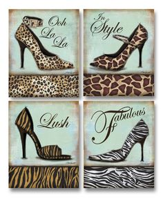 AmazonSmile: Fashion Shoe - mini, Mini Prints Art Print Poster by Todd Williams, 8 x 10 set of 4: Cheetah Print Bedding: Posters & Prints