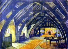This design for a garret has curved roof timbers, called 'crucks'.  They are traditionally found in old English barns and give a sense of strength and age.  Wood makes the room very cosy with an inglenook fireplace, informal carpets and warm oranges and yellows in the decoration.  Notice how the circular shape of the fireplace and table complements the 'crucks'.  The stairs up to the garret are on the left.