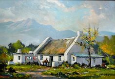 Washerwoman's Cottage Western Cape 2 by Dale Elliot South African Homes, African House, South African Artists, Old Cottage, Cottage Art, Abstract Landscape, Landscape Paintings, Farmhouse Paintings, Paintings I Love