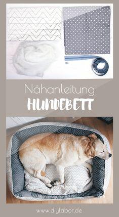 Digitale Nähanleitung (PDF) mit 140 Farbfotos für ein Hundebett in 3 Größen. Diy Dog Bed, Diy Bed, Zoo Animals, Funny Animals, Cocker, Pet Dogs, Pets, Young Animal, Cat Furniture