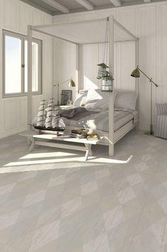 Hout tegels in de slaapkamer met verouderd ruit patroon