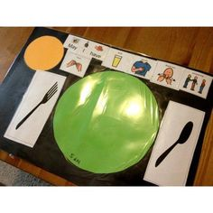 Place setting with symbols Repinned by Apraxia Kids Learning. Come join us on Facebook at Apraxia Kids Learning Activities and Support- Parent Led Group.