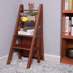 Library Ladder, Ladder Bookcase, Ladder Chair, Ladder Decor, Best Ladder, Kitchen Step Stool, Tiny House Loft, Wood Steps, Space Saving