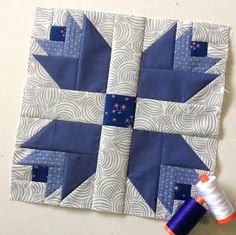The February Aurifil Designer Block of the Month was released a few days ago and I had so much fun sewing it up this morning!!!  February is all about Blue-Purple and Maureen Cracknell'ssuper adora