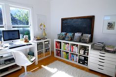 Office Organization - Chalkboard? - I have both of those white IKEA cubbies (long and short)