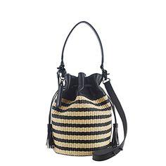 natural + black woven bucket bag // loeffler randall // $300