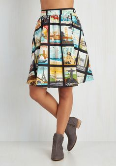 Around the World in Katie Days Skirt - Novelty Print, Casual, Travel, A-line, Cotton, Woven, Better, Black, Mid-length, High Waist, Multi, Pockets, Nifty Nerd