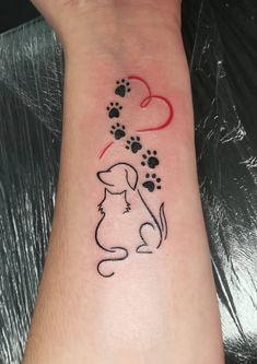 Cute Tiny Tattoos, Bff Tattoos, Mini Tattoos, Love Tattoos, Body Art Tattoos, Small Tattoos, Cat And Dog Tattoo, Snoopy Tattoo, Tattoo Designs Foot