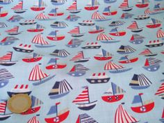 "SOLD BY 1/2 MT blue ship boat yacht  fabric 44"" wide crafts material"
