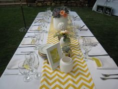 Yellow and White Chevron Table Runner by longrunners on Etsy