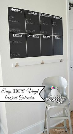 DIY Chalkboard Vinyl Wall Calendar | How to use chalkboard vinyl to make an easy DIY week at a glance calendar - great for keeping track of the whole family! An easy Silhouette CAMEO or Portrait project | 11 Magnolia Lane