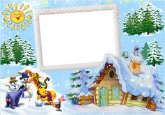 Christmas Kids Winter Frame with Winnie the Pooh and Friends and Snowman